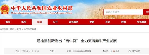 """通榆县创新推出""""吉牛贷款"""",全力支持肉牛产业发展"""