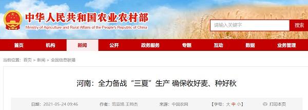 """河南:全力备战""""三夏""""生产,确保小麦丰收,秋好"""